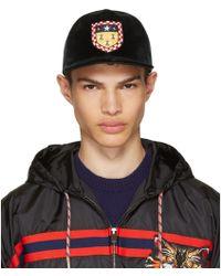 Gucci - Green Velvet Crest Baseball Cap - Lyst
