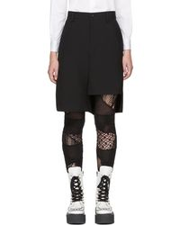 Junya Watanabe - Black Asymmetric Wool Shorts - Lyst