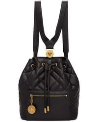 Versace - Black Quilted Medusa Tribute Backpack - Lyst