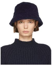 YMC - Navy Fleece Bucket Hat - Lyst