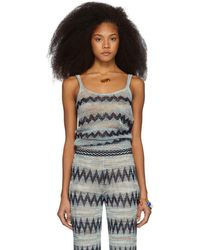 Missoni - Blue And Multicolor Knit Zig Zag Tank Top - Lyst