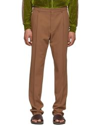 Bottega Veneta - Brown Wool Gabardine Trousers - Lyst