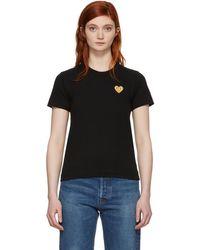 Play Comme des Garçons - Black And Gold Heart Patch T-shirt - Lyst