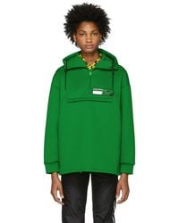 Prada - Green Tech Zip-up Hoodie - Lyst