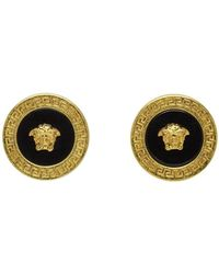 Versace - Gold And Black Resin Medusa Stud Earrings - Lyst
