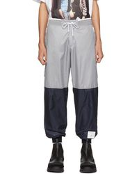 Thom Browne - Grey And Navy Ripstop Joggers - Lyst
