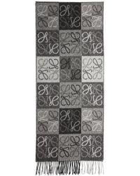 Loewe - Black And Grey Anagram Scarf - Lyst