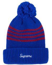 57da601c5 Supreme 4-stripe Loose Gauge Beanie in Red for Men - Lyst