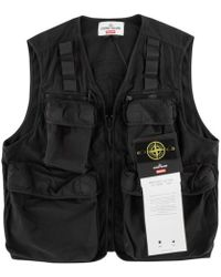 1c7643a5f5b7e Stone Island Black Cargo Vest in Black for Men - Lyst