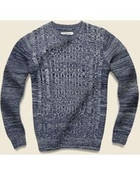 Barque - Marled Cable Crewneck Sweater - Navy - Lyst