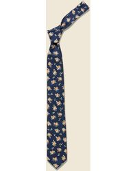 The Hill-side - Classic Calico Print Tie - Navy - Lyst