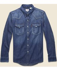 742473107f Lyst - Levi s Premium Sawtooth Western Shirt - Denim in Blue for Men
