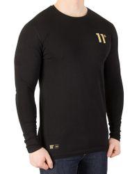 11 Degrees - Black/gold Longsleeved T-shirt - Lyst