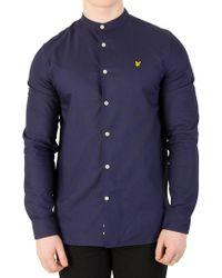 Lyle & Scott - Navy Grandad Collar Shirt - Lyst