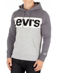 Levi's - Grey Colorblock Pullover Hoodie - Lyst