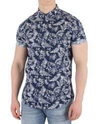 Superdry - Tropical Fern Navy Shoreditch Buttoned Down Shirt - Lyst