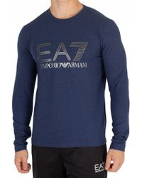 EA7 - Men's Graphic Longsleeved T-shirt, Blue Men's In Blue - Lyst