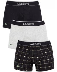 Lacoste - Grey/black/black 3 Pack Trunks - Lyst