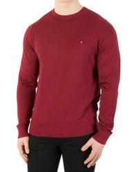 Tommy Hilfiger - Men's Cotton Silk Knit, Red Men's Jumper In Red - Lyst