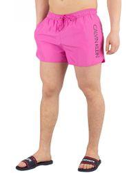 Calvin Klein - Phlox Pink Short Runner Logo Swimshorts - Lyst