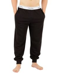 Calvin Klein - Black Branded Waistband Pyjama Bottoms - Lyst