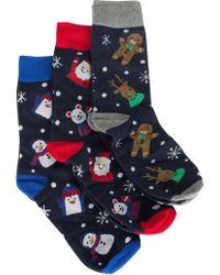 Jack & Jones - Navy Blazer 3 Pack Snowman Socks Gift Box - Lyst