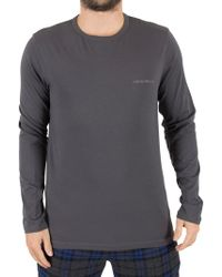 Emporio Armani - Steel Longsleeved Chest Logo Pyjama T-shirt - Lyst