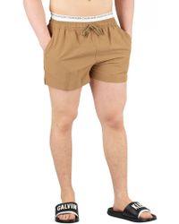Calvin Klein - Petrified Oak Short Double Waistband Swim Shorts - Lyst