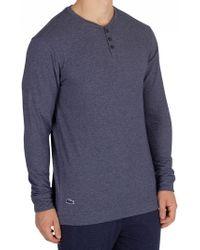 Lacoste - Night Blue Longsleeved Buttoned Pyjama Top - Lyst