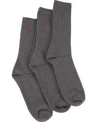 Polo Ralph Lauren - Charcoal 3 Pack Ribbed Logo Socks - Lyst