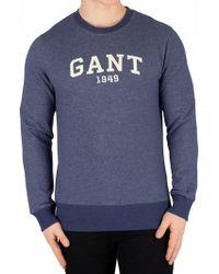 GANT - Marine Melange 1949 Arch Logo Sweatshirt - Lyst