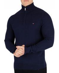 d73192f1 Tommy Hilfiger - Black Iris Navy Fine Structured Zip Sweater - Lyst