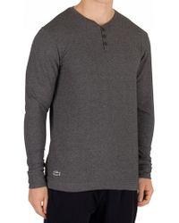 Lacoste Dark Grey Longsleeved Buttoned Pyjama Top - Gray