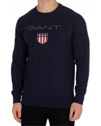 GANT - Evening Blue Shield Sweatshirt - Lyst
