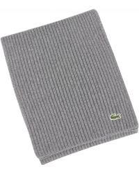 Lacoste - Grey Ribbed Scarf - Lyst