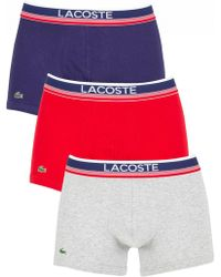 Lacoste - Navy/grey/red 3 Pack Trunks - Lyst