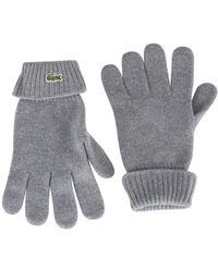 6c88ae55ec1485 Lyst - Lacoste Bicolor Leather And Wool Gloves in Blue for Men