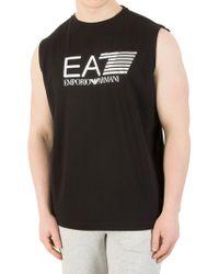 EA7 - Black Graphic Vest - Lyst