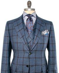 Kiton - Slate Blue Windowpane Suit - Lyst