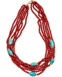 Darlene De Sedle - Coral Multi Strand Necklace With Turquoise Beads - Lyst