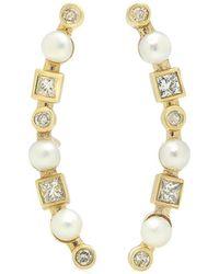 Nancy Newberg - Diamond And Pearl Curl Earrings - Lyst