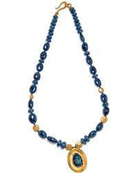 Darlene De Sedle - Sapphire Bead Necklace With Scarab Pendant - Lyst