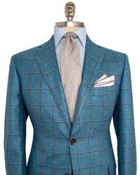 Belvest - Aqua With Taupe Windowpane Sportcoat - Lyst