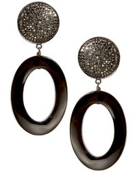 Nest - Black Horn Oval Pave Drop Earrings - Lyst