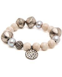 Hannah Ferguson - Cream Beaded Bracelet With Charm - Lyst