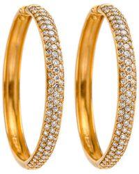Darlene De Sedle - Gold Hoop Earrings With White Diamond Pave - Lyst