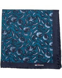 Kiton | Turquoise And Navy Floral Print Pocket Square | Lyst