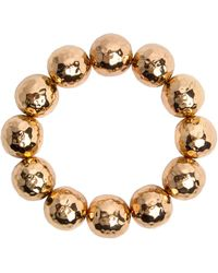 Nest - Hammered Gold Beaded Stretch Bracelet - Lyst