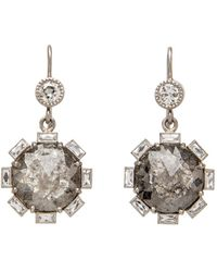 Sylva & Cie - Rough Cut Diamond Petal Earrings - Lyst