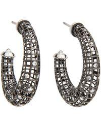 Roule & Co. - Brilliant Cut Diamond Crescent Hoop Earrings - Lyst